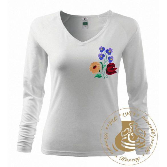 Hímzett női hosszú ujjú póló kalocsai mintával