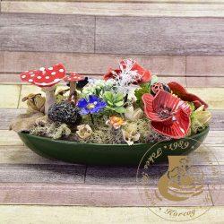 Ovál tálkában mezei virágok - asztaldísz