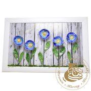 Kék szellőrózsa - kerámiavirág falikép
