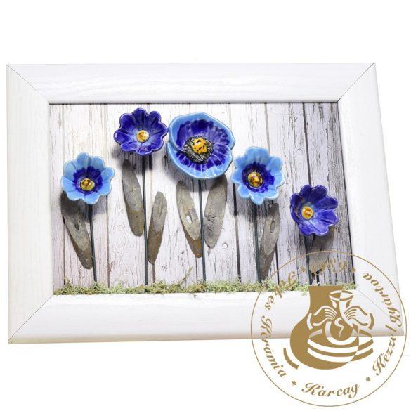 Kék kerámiavirágok - kerámiavirág falikép