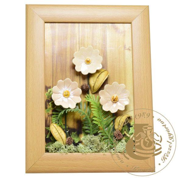 Krémszínű margaréták - kerámiavirág falikép