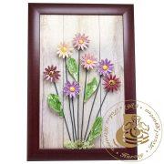 Színes margaréták - kerámiavirág falikép