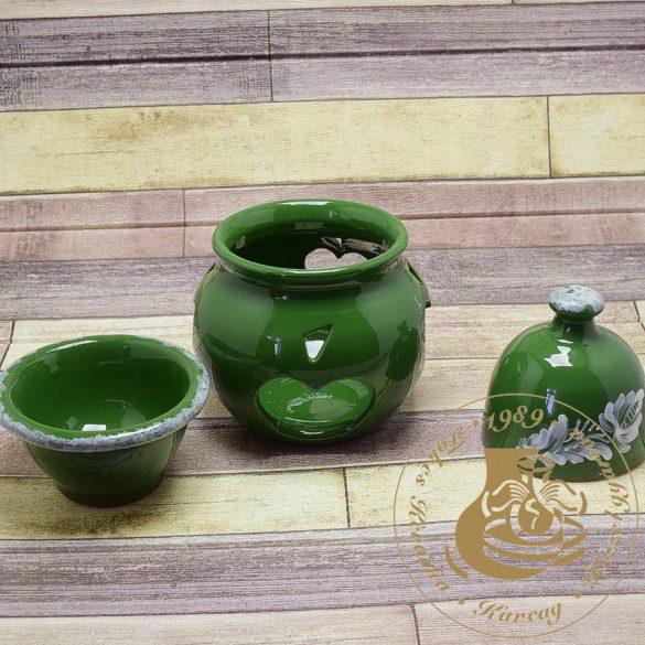 Zöld kerámia almasütő