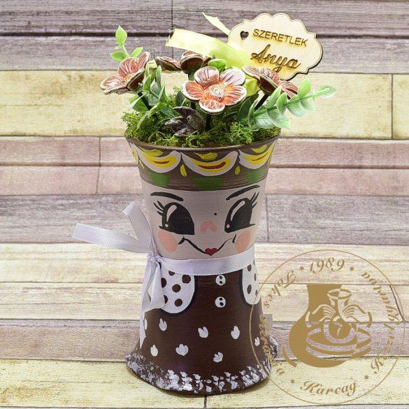 Mini cserépbaba kerámiavirágokkal - asztaldísz