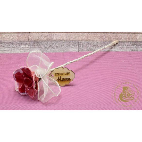 Piros kerámiarózsa organza szalaggal dekorálva - virágszál 2