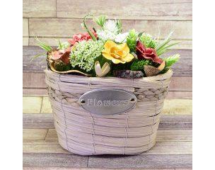 Kerámia virágcsokor, asztaldísz